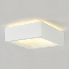 PLASTRA 104 E27, plafonnier carré, plâtre blanc, max. 2x 25W