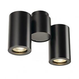 ENOLA_B spot double, applique et plafonnier, noir, GU10, max. 2x50W