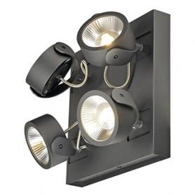 KALU LED 4 applique/plafonnier, carré, noir, LED 60W, 3000K, 60°