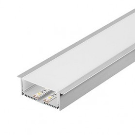 GLENOS profil aluminium à encastrer, avec diffuseur, alu anodisé, 2m