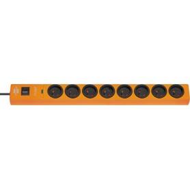 Multiprise hugo! Orange, 8 prises, avec parafoudre