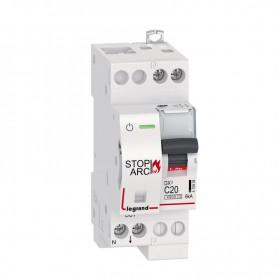 Disjoncteur DX³ STOP ARC 4500 6kA arrivée haute et sortie basse à vis - 1P+N 230V~ 20A courbe C - 2 modules - LEG415908