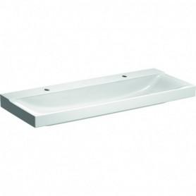 Lavabo Geberit Xeno²: B:120cm T:48cm Trou de robinet:Gauche et droite Trop-plein - 500.550.01.1 - GEBERIT | GENMA