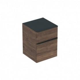 Meuble latéral bas Geberit Smyle Square avec deux tiroirs Mélamine structuré bois / Noyer Carya - 500.357.JR.1 - GEBERIT | GENMA