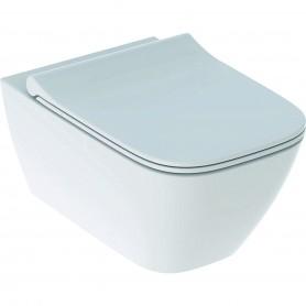 WC suspendu à fond creux Geberit Smyle Square caréné Rimfree avec abattant WC non recouvrant: Blanc