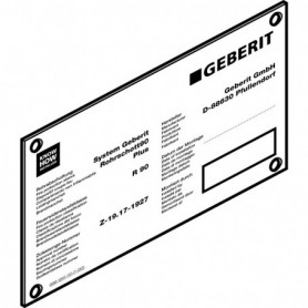 Plaque d'instructions Geberit pour manchette coupe-feu RS90 Plus EN - 243.429.00.1 - GEBERIT | GENMA