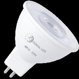 5W MR16 Ampoule LED 475 Lmn 3000K 230V Non Dimmable Aluminium - HS1302/3 - DUNYA LED | GENMA