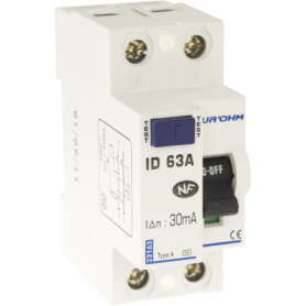 Interrupteur différentiel 63A 1P+N 30mA connexion haut/bas Classe A - 23163 - EUROHM | GENMA