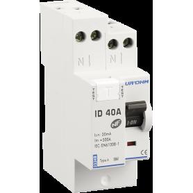 Interrupteur différentiel 40A 1P+N 30mA connexion haut/haut Classe A - 23340 - EUROHM | GENMA