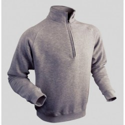 SWEAT COL ZIPPE EMBALLE GRIS