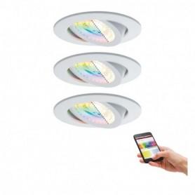 Kit d'encastrés LED Smart Zigbee Lens 3x4,8 W RGBW Blanc dépoli