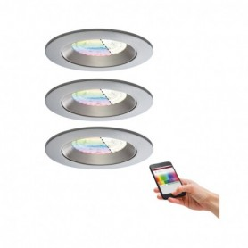 Kit d'encastrés LED Smart Zigbee Lens 3x4,8 W IP44 RGBW Chrome mat
