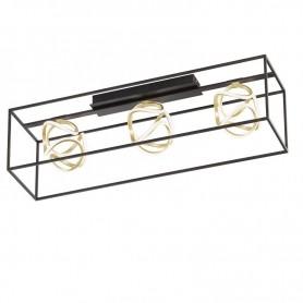 Gesa Plafonnier LED 47W noir mat / coloris feuille or, écran blanc