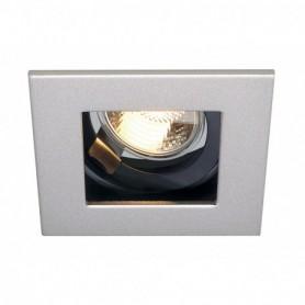 INDI REC 1S encastré, carré, gris argent/noir, GU10, max. 50W, orientable